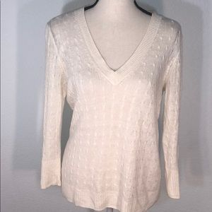 J.Crew Classic Cable Knit Sweater White 100% Linen
